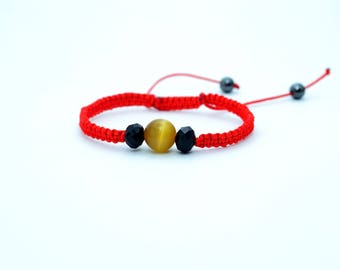 Protection bracelet Red string of fate Kabbalah bracelet Evil eye meaning Yellow cat eye Cat eye bracelet Red thread Healing gemstone