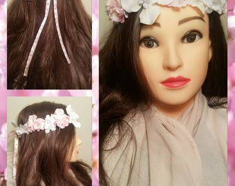 Laurie's Crown - Pink & White Flower Crown w/ A Cherry Blossom Ribbon