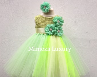 SALE Green Birthday Dress, green birthday tutu dress, princess tutu dress, flower girl dress, infant girl dress, 1st birthday dress