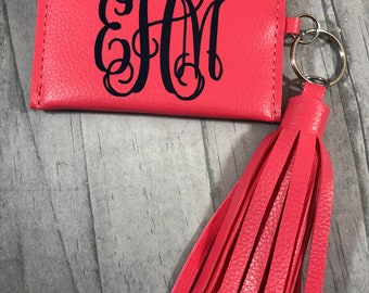 PERSONALIZED ID Wallet KEYCHAIN. Makeup Bag. Personalized Cosmetic Bag. Bridesmaid Gifts. Bride Tribe. Lipstick Holder. Tassel Keychain.