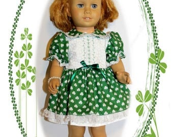 """Chatty Cathy doll not included. Clothes only. St Pat's Bonnie Lass Fits 20"""" tall dolls St. Patricks Green Clover Dress, Bracelet & Underwear"""