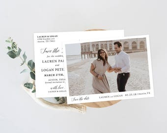 Modern Save the Date Photo Postcards, Rustic Save the Date Postcard, Printed Save the Date Photo Card, , Calligraphy Save Our Date Cards Set