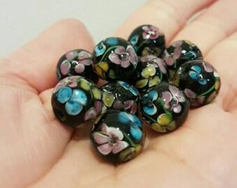 Glass Lampwork Beads - Floral Black (Set of 10)