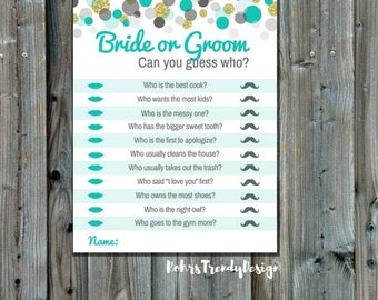 Bridal Shower Games, Bride or Groom Game, Instant Download Bridal Shower Games, Printable Games, Teal and Gold Confetti
