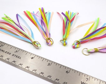 Set of 5. Ribbon Tasels. Planner Tassels. Rainbow Tassels. Craft Supply.