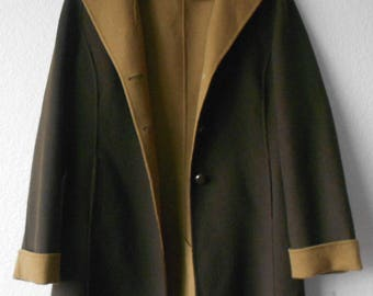 Alexandra Bartlett women's wool coat/100% wool coat/brown tan/size M