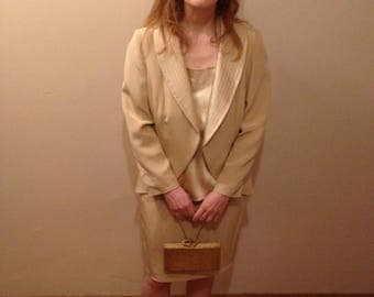 Vintage silk 3 piece skirt suit - cream/pearl color