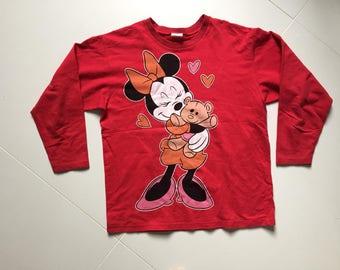 Sudadera Sweater Disney 1980 Vintage hecho Finlandia Minnie mouse - mujeres 140cm