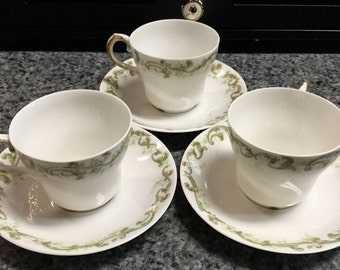 Limoges Teacups and Saucers