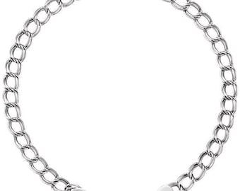 Bracelet Solid Charm 14K White Gold