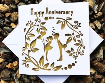 Happy Anniversary Card, Anniversary Card, Wedding Anniversary Card, Laser Cut Anniversary Card, Papercut Anniversary Card