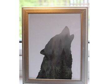 Wolf Forest Print   Framed Print, Wolf Wall Art, Forest Print, Woodland Animal Art, Wolf Decor, Wolf Art Poster, Silhouette Art, Forest Art