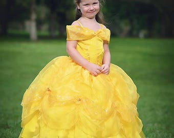 Belle Dress / Disney Princess Dress Beauty and the Beast Inspired Costume / Yellow Dress / Ball gown style for toddler, child, girl