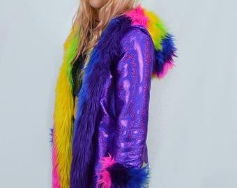 Gettin' Stripey Faux Fur (Reversible Spandex Lining) Festival Jacket