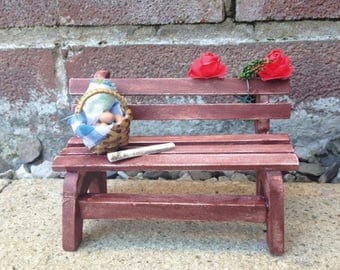 Miniature Bench For Your Dollhouse Or Fairy Garden Design, Miniature Park Bench With Miniature Wicker Basket Filled With Dollhouse Food