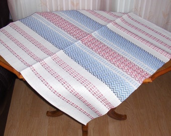 Swedish vintage white, red and blue linen tablecloth/ Woven square tablecloth/ Scandinavian tablecloth