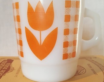 Vintage Termocrisa Orange Tulip Milk Glass Cup Mug