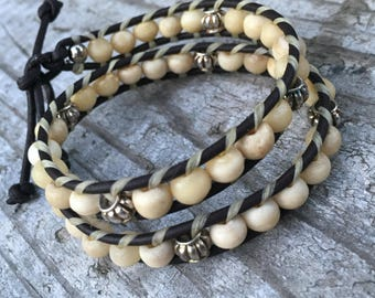 Bracelet Bundle: Boho-Style Beaded-Wrap Bracelet + 2 accessory bracelets, wrap bracelet, beaded bracelets, hippie style bracelets