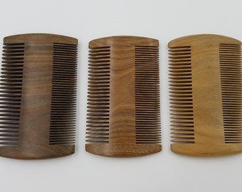 Double Sided Wood / Sandalwood Beard Comb.  Fine and Wide Tooth.  Fight Snags & Tangles, Distribute Oils, Increase Blood Flow. FREE SHIPPING