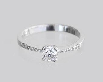 Engagement Diamonds Ring , 18k Gold, 14k Gold, Bridal Ring, Diamond Wedding Ring