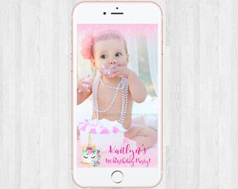 Unicorn Snapchat Geo filter - Pink Sparkles - Birthday party Baby Shower