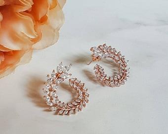Swirl Cubic Zirconia Stud Earrings | Silver & 18k Rose Gold | Women's Jewellery