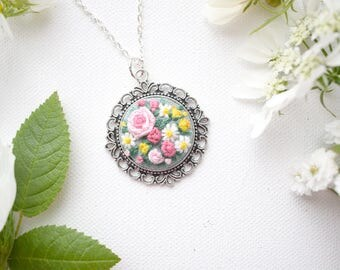 Hand Embroidered Floral Pendant, Vintage Style Necklace, Pink Roses and Daisies, Sage Green, Hand Embroidered Pendant, Shabby Chic