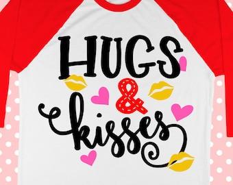 Love svg - Valentine svg - Valentines days svg - Hugs and kisses svg - Heart svg - Kiss svg- Girl Valentine's Day Svg file - dxf eps pdf png