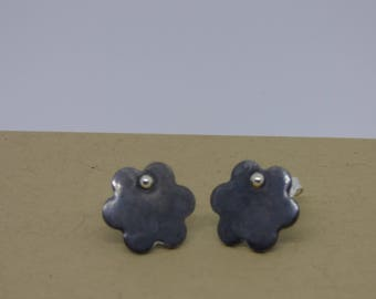 Flower shape, one of a kind, oxidized sterling silver stud earrings with sterling silver dot