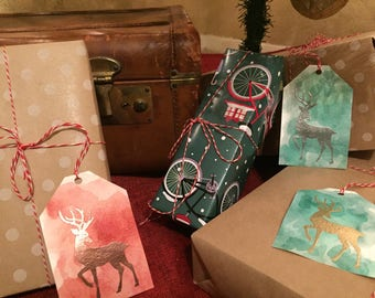Hand painted Traditional Watercolor & Embossed Reindeer Gift Tags (Set of 5)