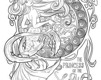 Ariel, Disney's Little Mermaid Art Nouveau COLORING PAGE!