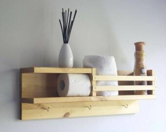 Organizer - Wood Shelf - Storage - Wall Shelf - Bathroom - Shelving