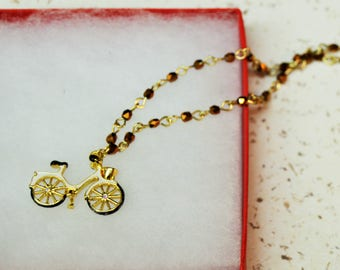 Antique Bicycle Necklace