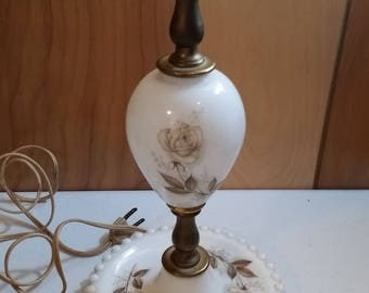 Vintage Hobnail Milk Glass Lamp Painted Brown Roses
