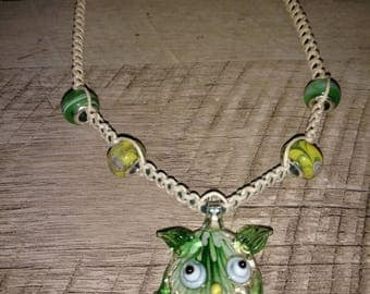 Handcrafted Hemp Necklace with Hand Blown Glass Owl Pendant and Glass Beads