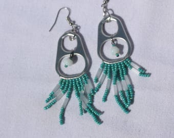 Pull tab beaded dangle earrings ( Handmade )