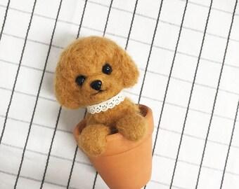 needlefelted poodle, poodle, puppy doll, needlefelting, miniature puppy, miniature dog