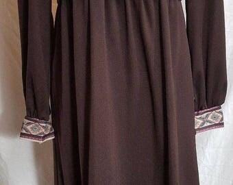 Vintage Long Sleeve Maxi Dress Prairie Hippie Size 12
