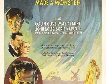 Frankenstein movie poster printed on matte 180g.