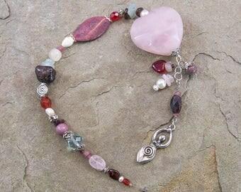 Goddess Aphrodite Suncatcher, Goddess of Passion & Sensuality, Prayer Beads/Meditation Beads, Garnet,Rose Quartz,Rhodonite, Healing Crystals