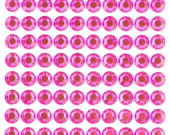 3 Sheets - Lt. Pink 8mm Adhesive Rhinestone Dot Sticker