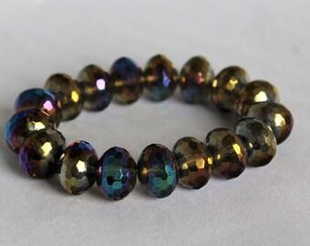 Dy-chromatic Iridescent Glass Bead Bracelet // Celebration Statement Piece
