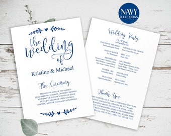 Wedding Program Template, Blue Wedding Programs, Navy Blue Wedding, Wedding Program Template, Printable Wedding Program, Editable, BD6053