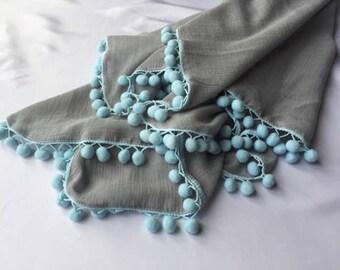 Grey w/Blue Pom Pom Single Layer Swaddle Blanket, pompom, teal, ivory, pink, white, ivory, grey, baby blanket, muslin swaddle