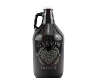Custom Hoppy Heart 64 oz Craft Beer Growler