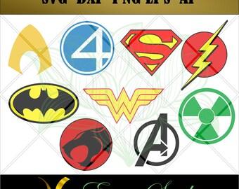 Super Hero svg,Aquaman,Thundercats,Fantastic,Avengers,Super Man,Batman,Wonder W,Hulk Logos svg,Design Studio,svg files