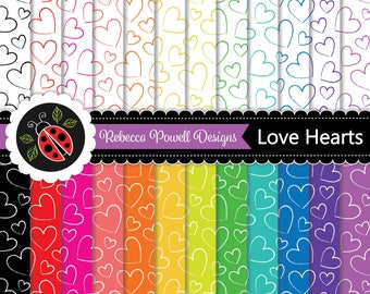 Hearts Pattern Rainbow Colours and White Digital Paper Set. Scrapbooking, Craft and Digital Backgrounds. Personal & Commercial Use.