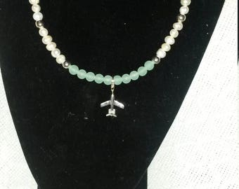 Cultured Pearl and Jade Necklace With Sterling Silver Plane