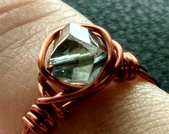 Looking Glass Hand-Crafted Copper Wrapped Faceted Glass Ring