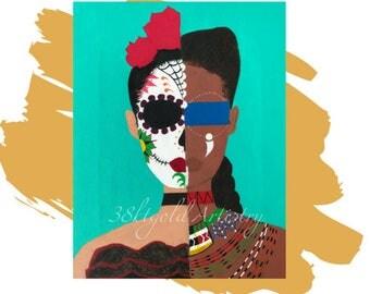 AfroLatina (African Maasai Mexican Calavera Portrait)